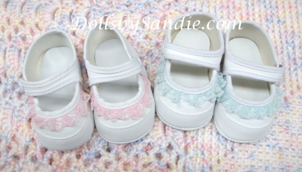 Doll Shoes - White Doll Shoes with Lace