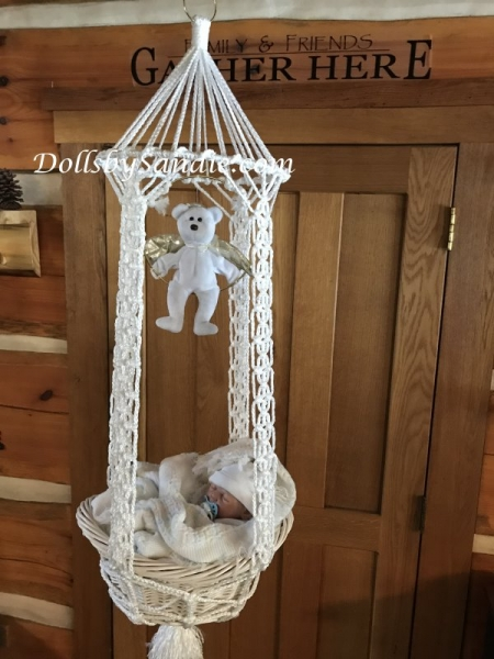 Handmade Macrame' Hanging Basket Cradle for your Reborn Baby