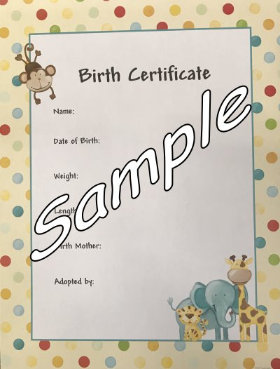 Birth Certificate for your Reborn Baby - Dots