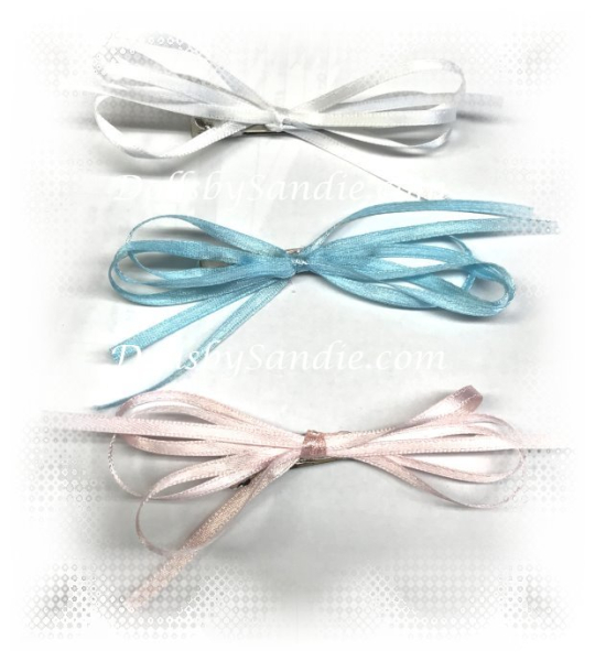 Hair Barrette - Handmade Ribbon Bow on Clip