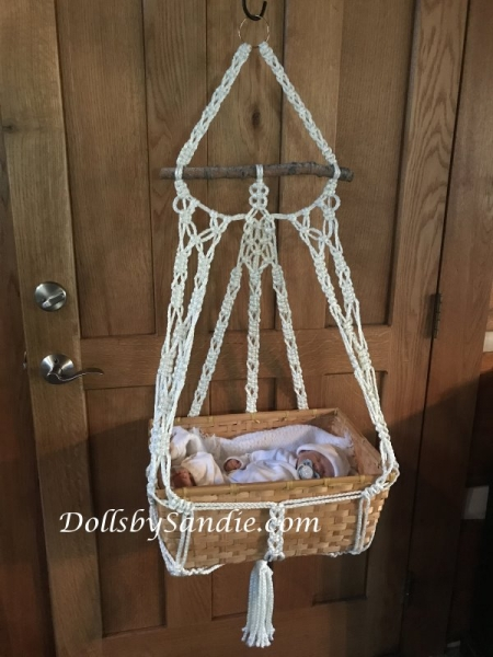Handmade Macrame' Wall Hanging Basket Cradle - for your Reborn Baby