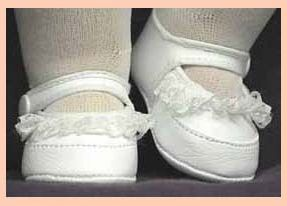 Doll Shoes - White Doll Shoes with White Lace