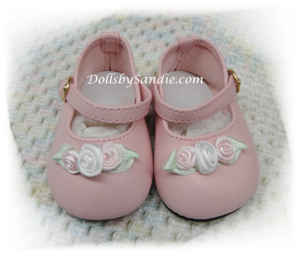 Doll Shoes - Ankle Strap Pink with Roses - by Moniques