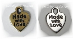 "Quantity of 10 -Tiny Little  ""Made With Love"" Charms"