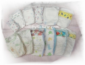 Quantity of 10 - Assorted Sizes of Diapers