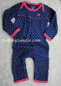 Carter's Girls Play Romper - Navy with White Dots