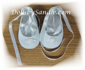 Doll Shoes - White Doll Shoes with Ribbon Ties