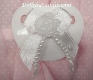 Magnetic Pacifier - Gerber Nuk Magnetic Paci with White Ribbon Bow