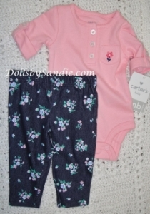 Carter's Girls 3 pc. Set - Pink Floral Jean Set
