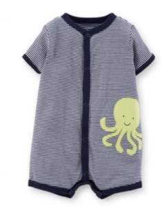 Carter's Boys Romper - Navy Striped with Octopus