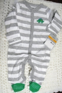 Carter's Boys Sleeper - Newborn - Gray Striped Dinosaur