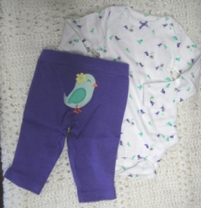 Carter's Girls 2 Pc Set - Purple Birdie Set