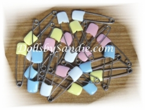 One Dozen (12) Sets of Diaper Pins - Total of 24 Pins