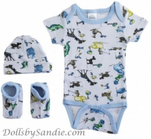 Hospital Gift Set - Newborn Boys 3 piece - Onesie, Hat & Booties