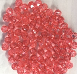 Faceted Plastic Pink Beads - 6mm - Package of 144