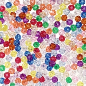 Faceted Plastic Multi Colors Beads - 6mm - Package of 144