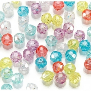 Faceted Plastic Pastel Mix Beads - 6mm - Package of 144