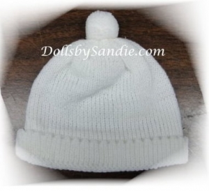 Soft Knit Baby Doll Hat - Preemie White
