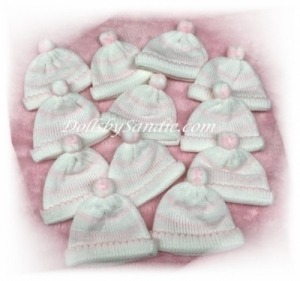 Quantity of 10 - Micro Preemie Soft Knit Baby Doll Hats