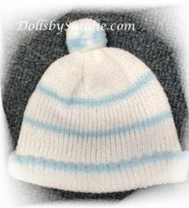 Soft Knit Baby Doll Hat - Preemie or Newborn - Blue/White