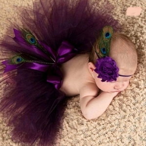 Newborn Baby Girls Dark Purple Tutu & Headband