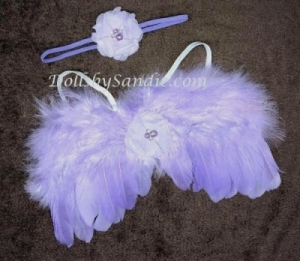 Newborn Baby - Feather Wings & Headband - Purple