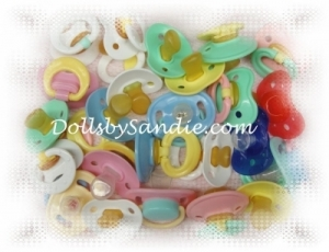 Quantity of 10 - Pacifiers - Assorted Colors - for your Reborn