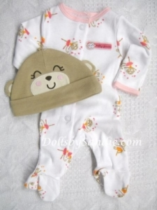 Carter's Girls 2 pc. Set - Sleeper & Hat - Pink Monkey