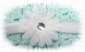Headband - Handmade White Flower Baby Headband