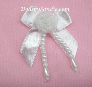 Decorate with these White Rosebud Ribbon Bows