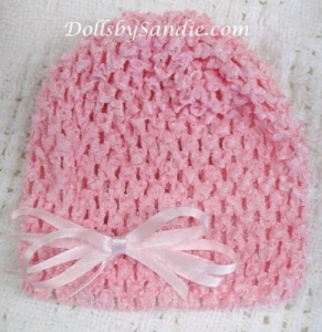 Waffle Crochet Baby Hat - with Ribbon Bow