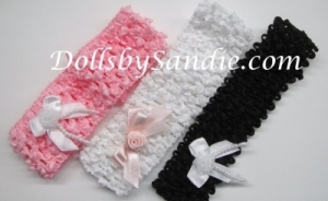 Headband - Waffle Crochet Headband - with Detachable Dainty Rosebud Ribbon Bow