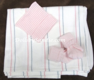Hospital Set - 3 piece - Blanket, Cap & Booties