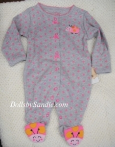 Carter's Girls Sleeper - Grey with Pink Dots