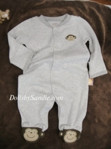 Carter's Boys Sleeper - Grey Stripe Monkey