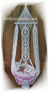 Handmade Macrame' Hanging Basket Wall Display for your Reborn Baby